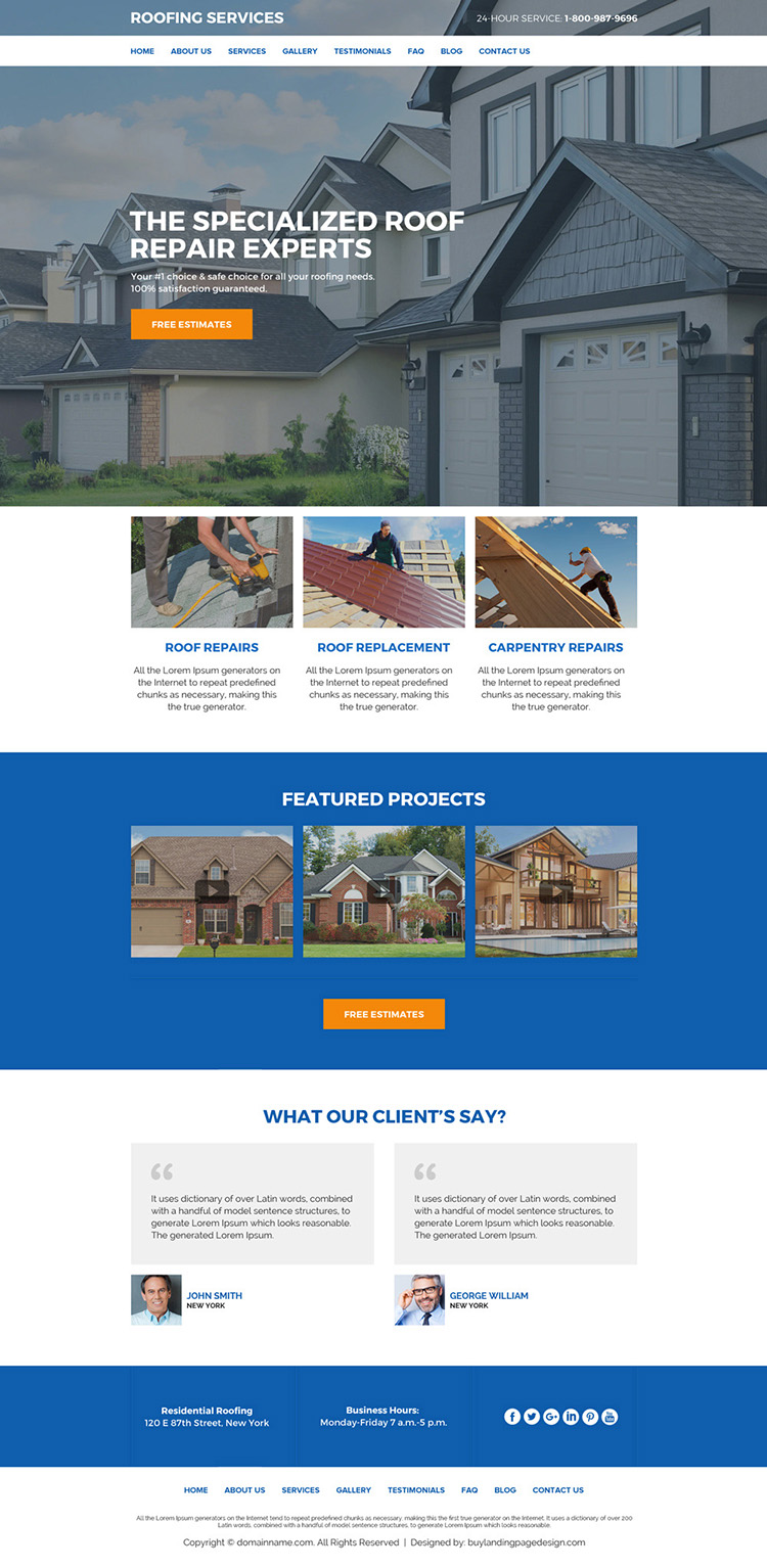 roof repair and replacement services responsive website design