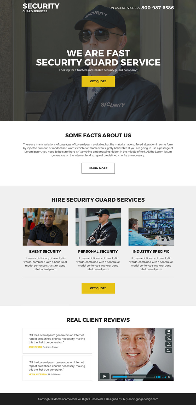 security guard services landing page design