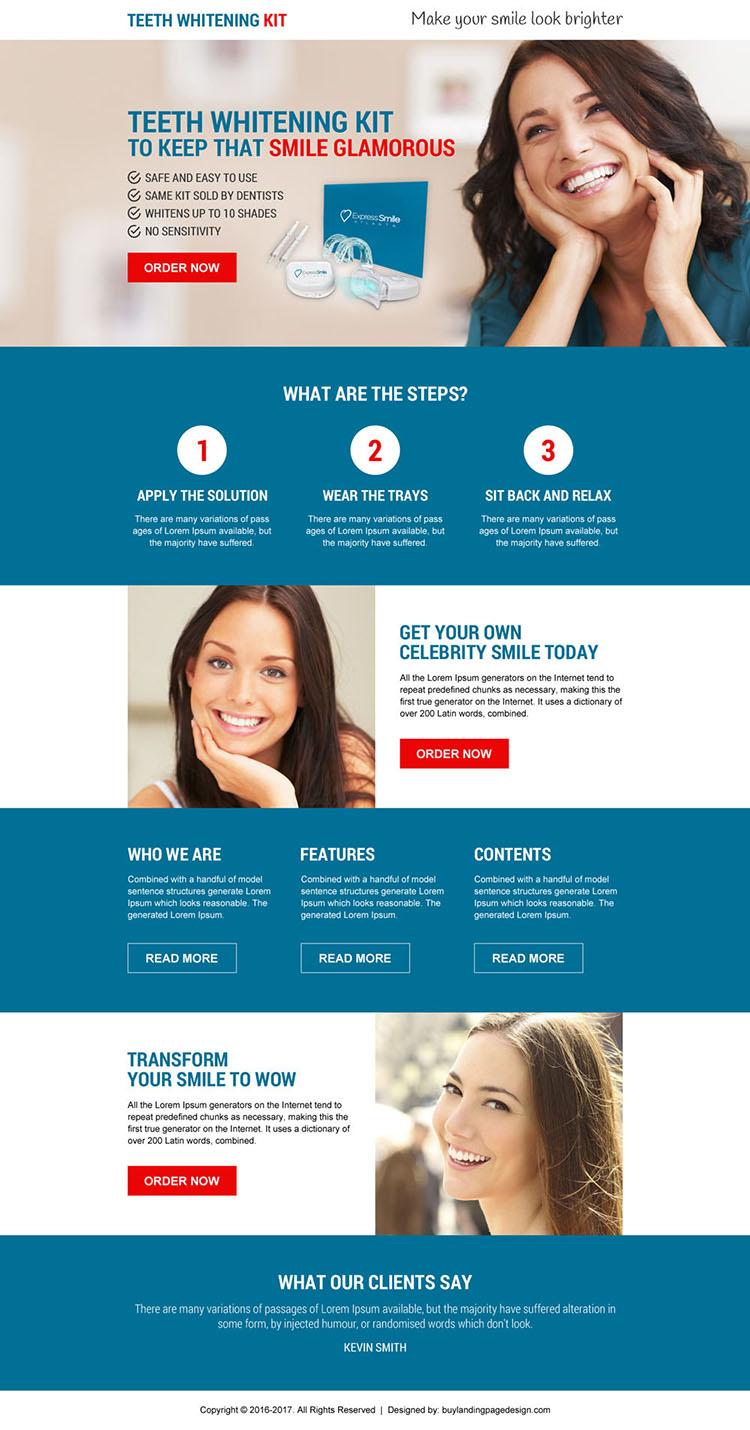 best teeth whitening kit selling modern landing page design