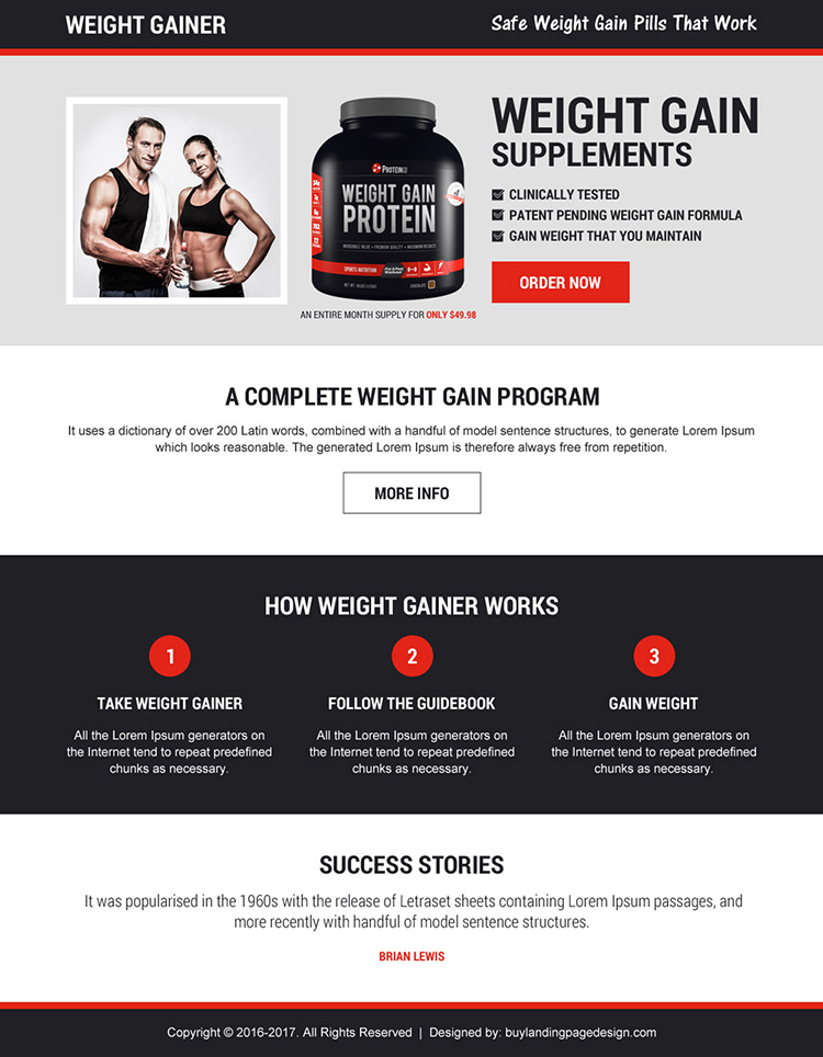 best selling weight gain supplements landing page design