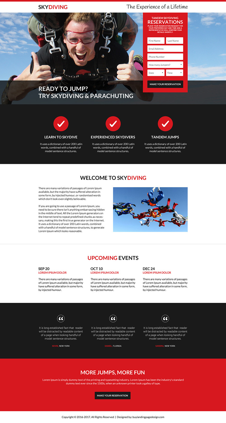 best skydiving online reservations landing page design