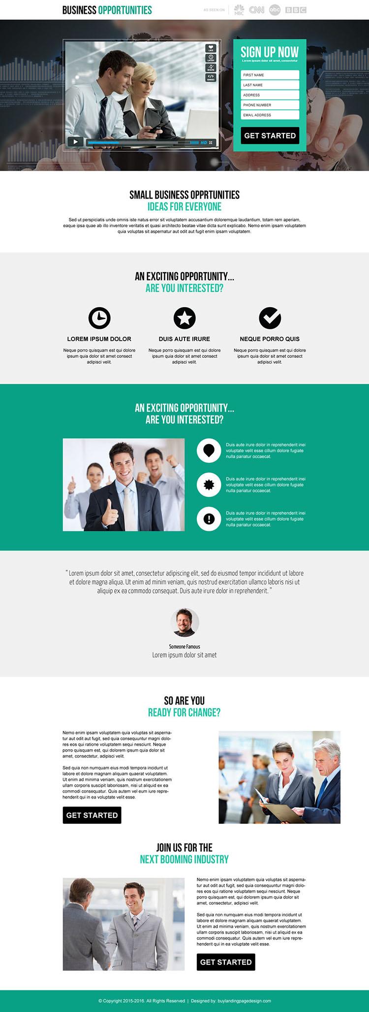 small business idea lead generation video landing page design