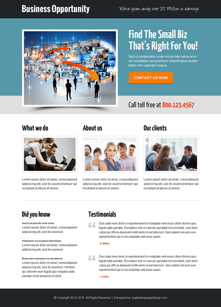 delightful and professional small business opportunity call to action landing page design template