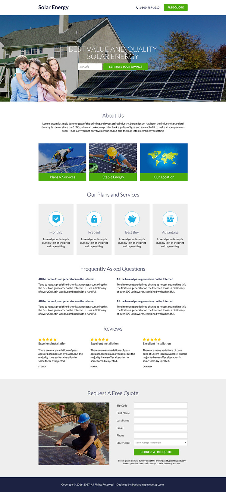 best solar energy professional lead capture landing page design
