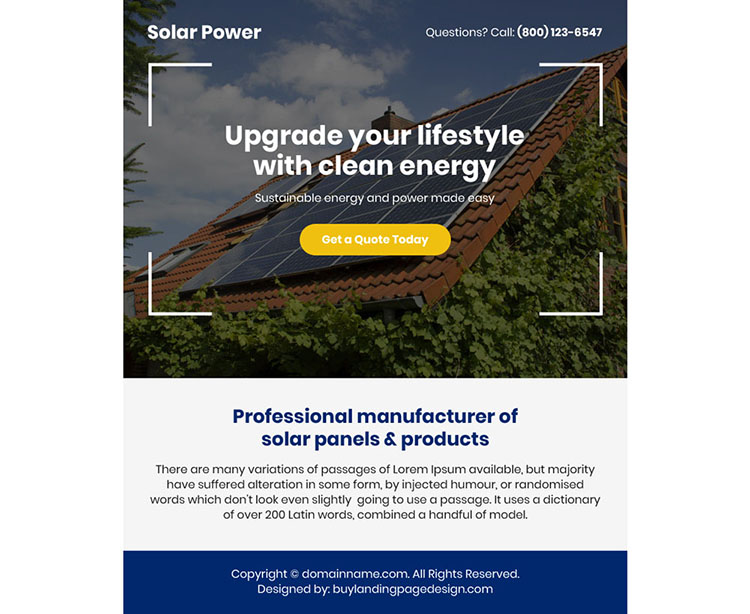 best solar panels and products ppv landing page design