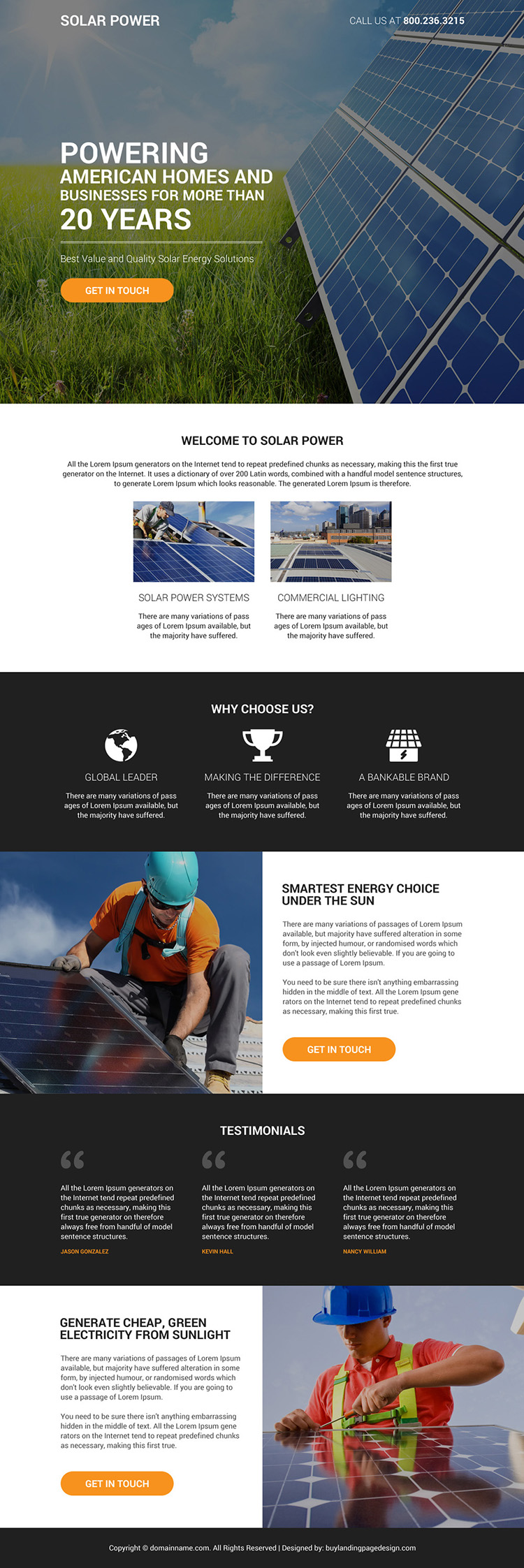 quality solar energy solutions bootstrap landing page design