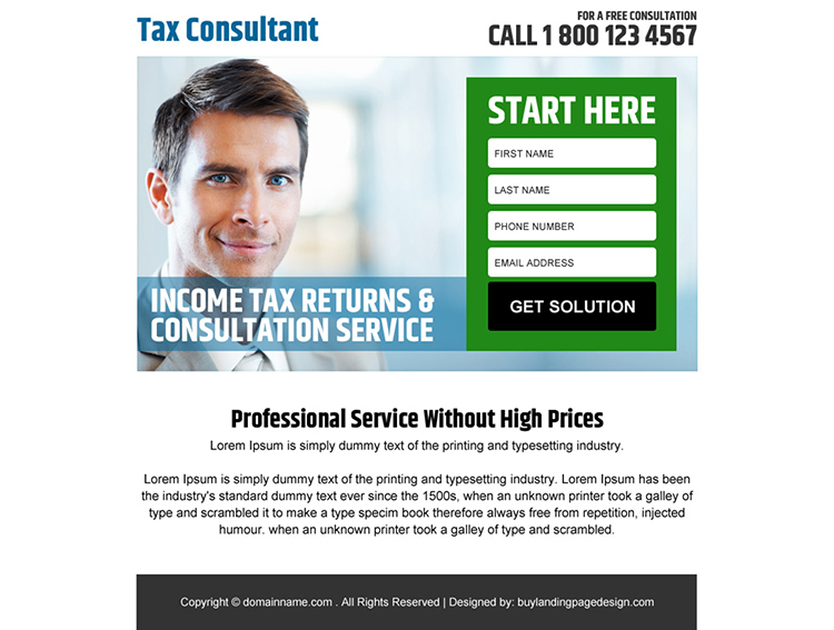 income tax returns and consultation service ppv landing page