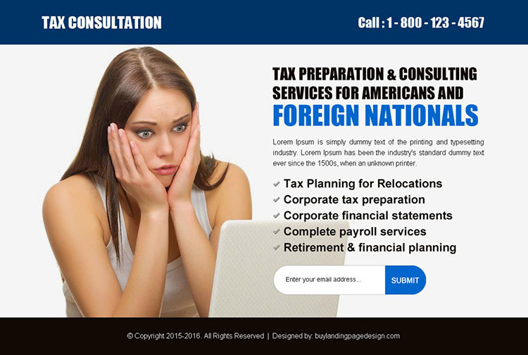 best tax service lead generating ppv landing page design