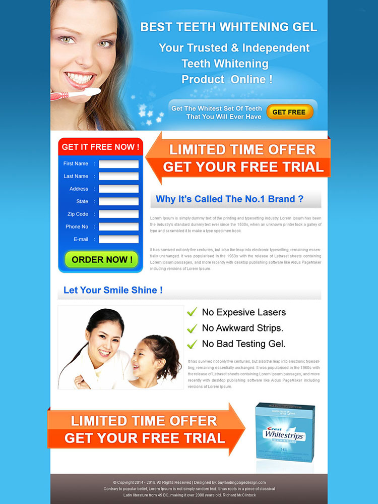 best teeth whitening gel product limited time trial offer landing page design for sale
