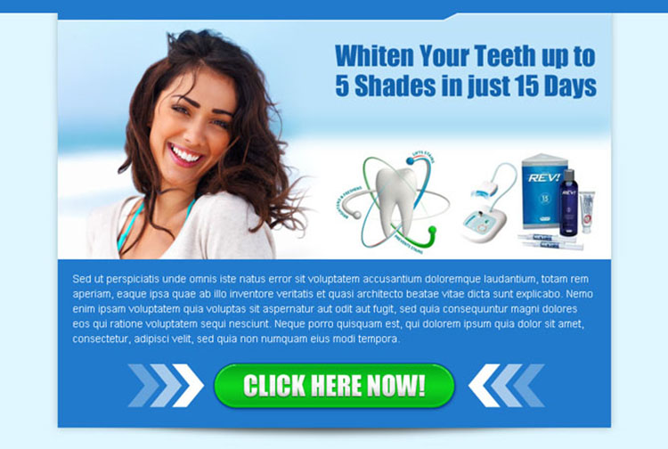 teeth whitening product converting call to action ppv landing page design