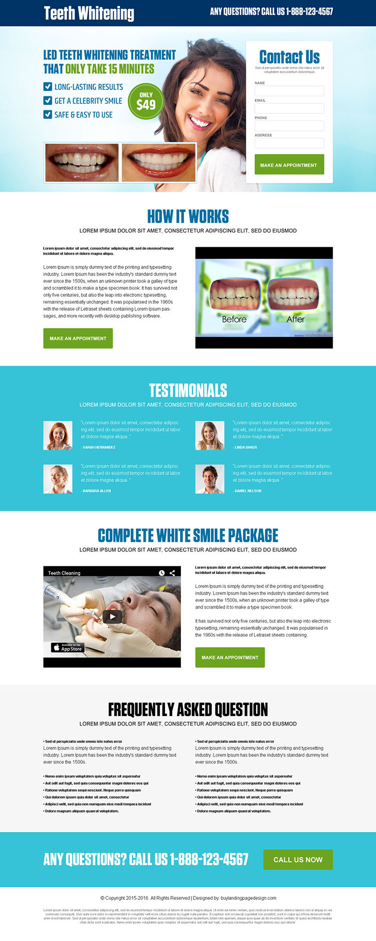 best teeth whitening treatment lead generating landing page design