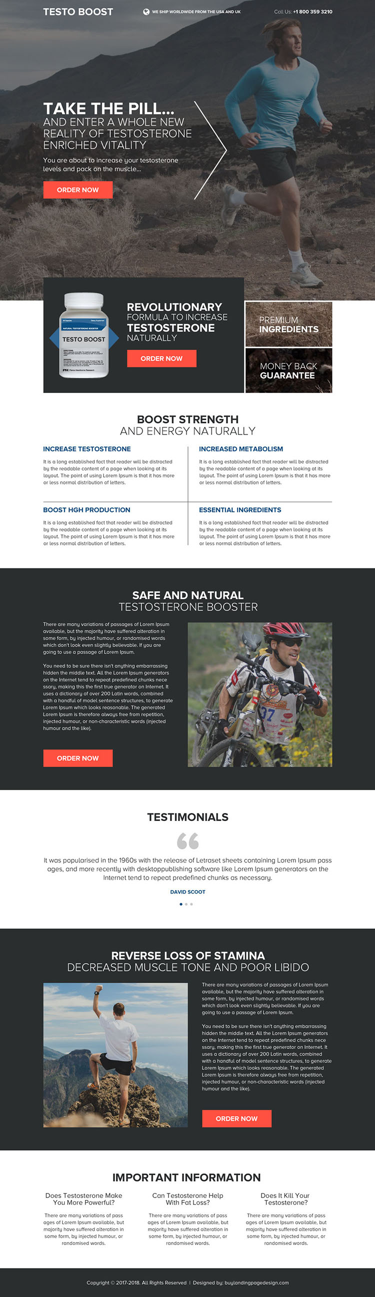 best low testosterone booster pills selling landing page design