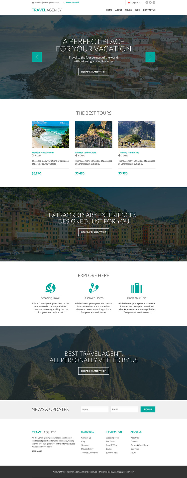 best tour and travel agency modern website design