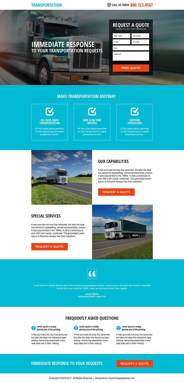 responsive free quote lead form transportation landing page