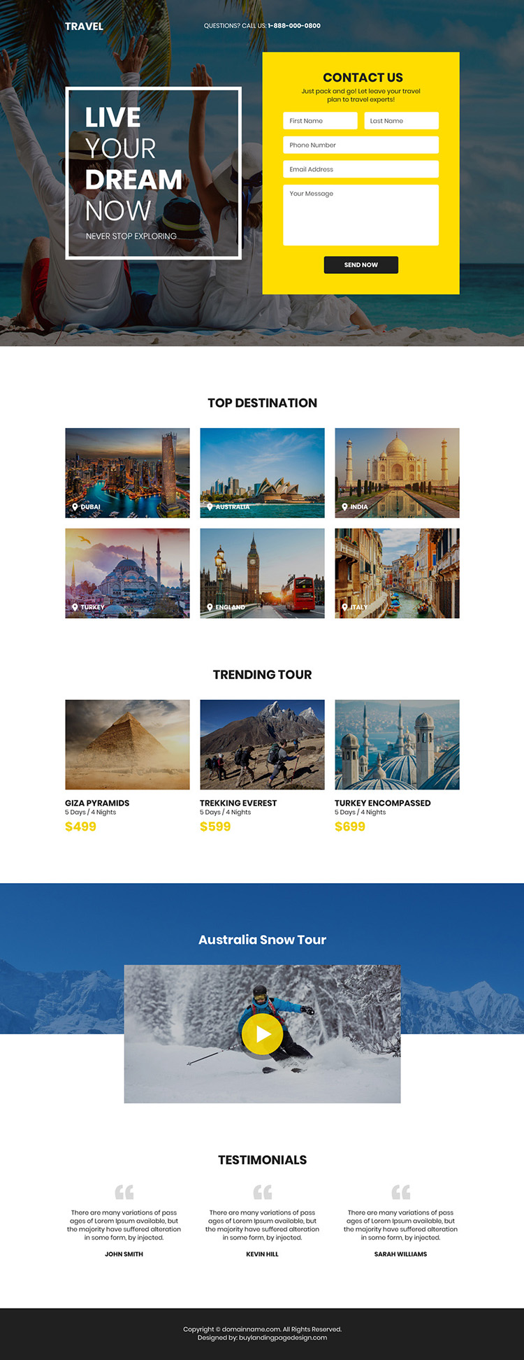 best tour and travel company lead generating landing page