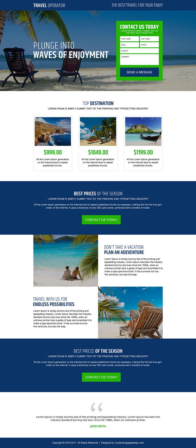 best travel lead capture landing page design
