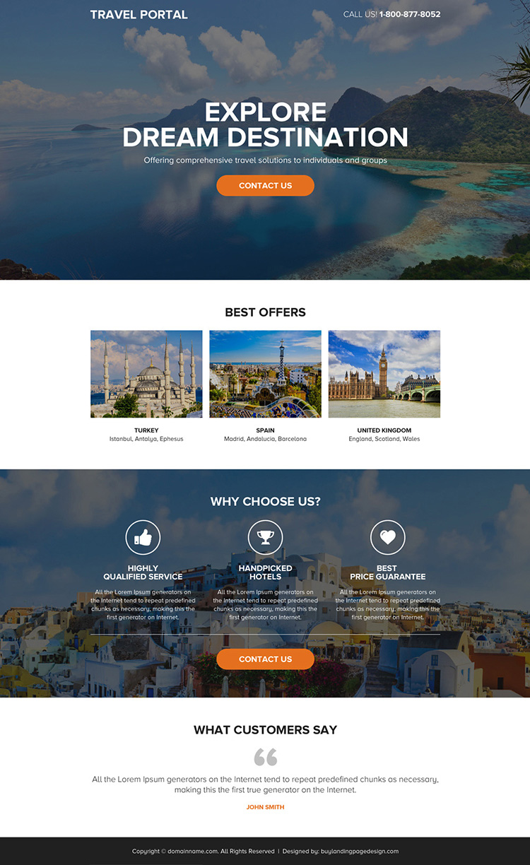 best travel portal responsive call to action landing page