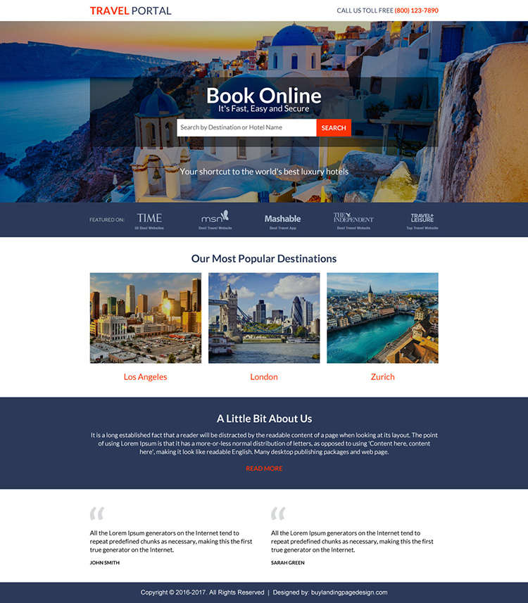 responsive travel portal lead capturing landing page