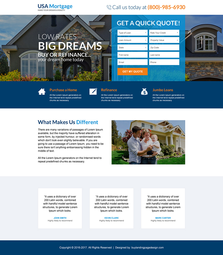 usa bank mortgage free quote lead capturing landing page