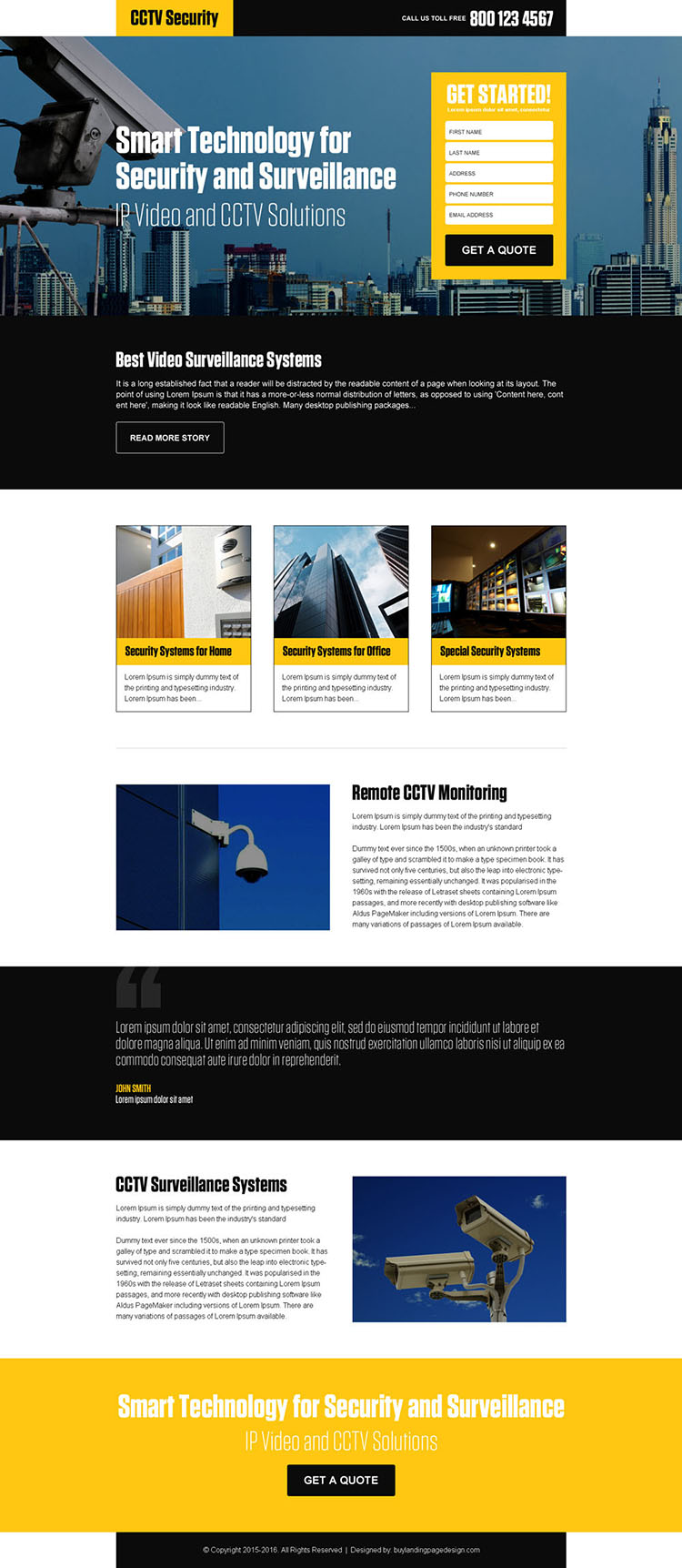 best video surveillance security landing page design