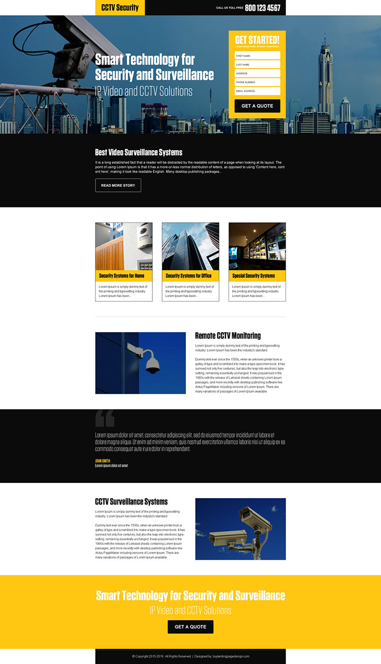 best video surveillance security responsive landing page design
