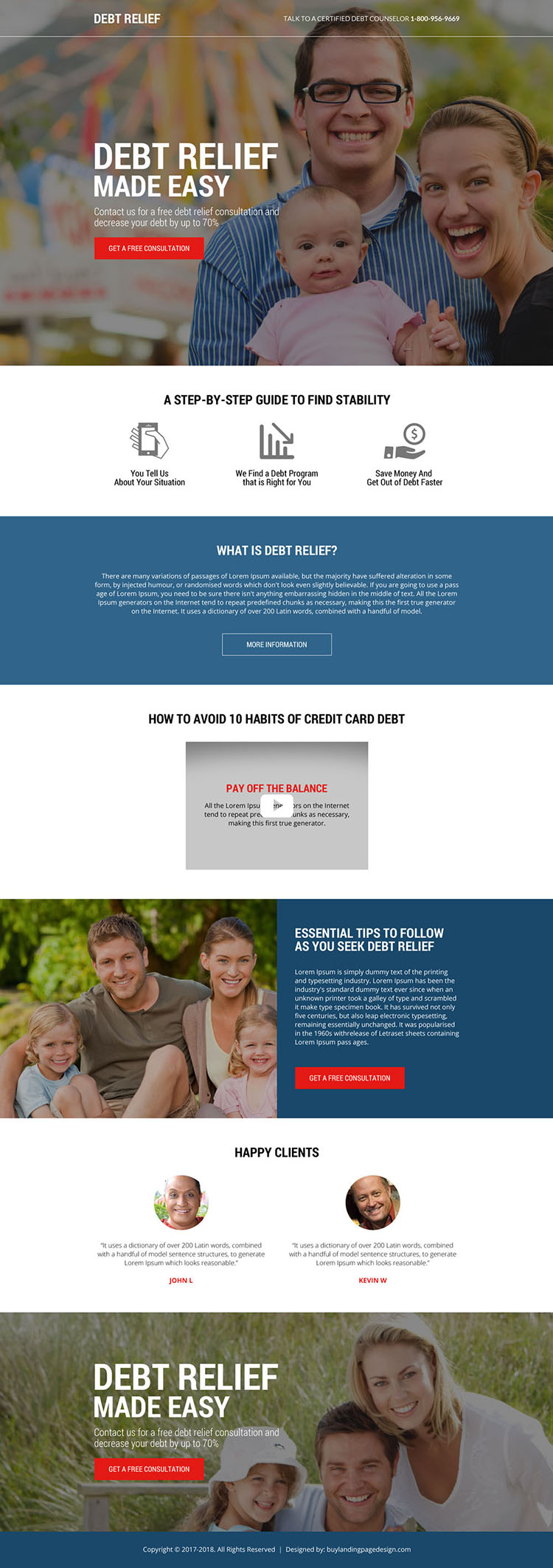 free credit card debt relief consultation modern landing page design