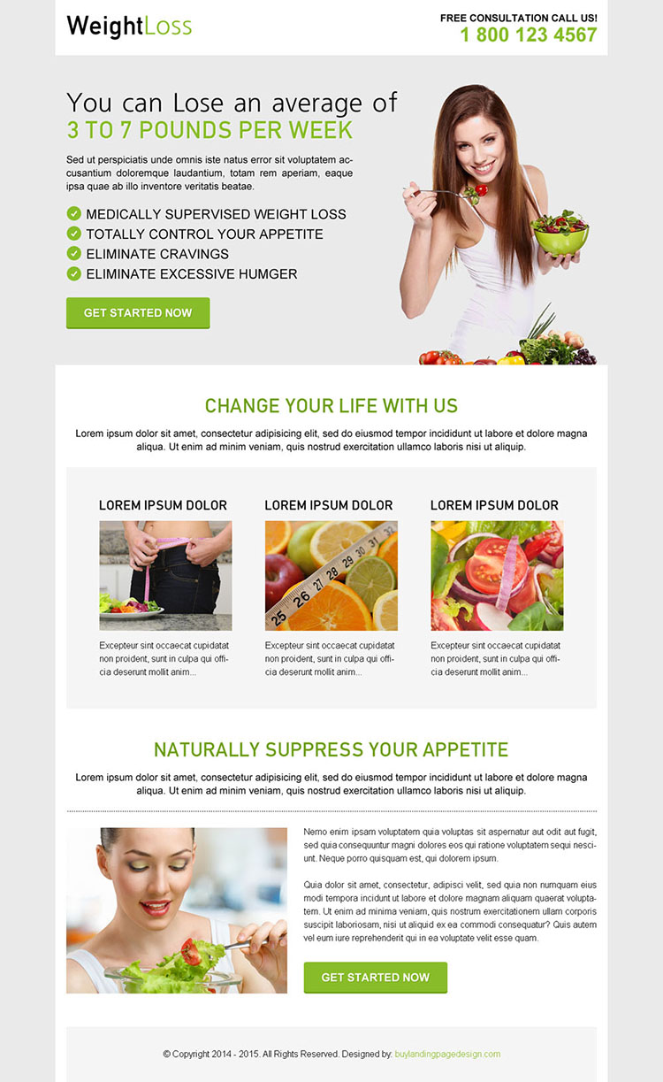 weight loss diet effective call to action clean and converting landing page design