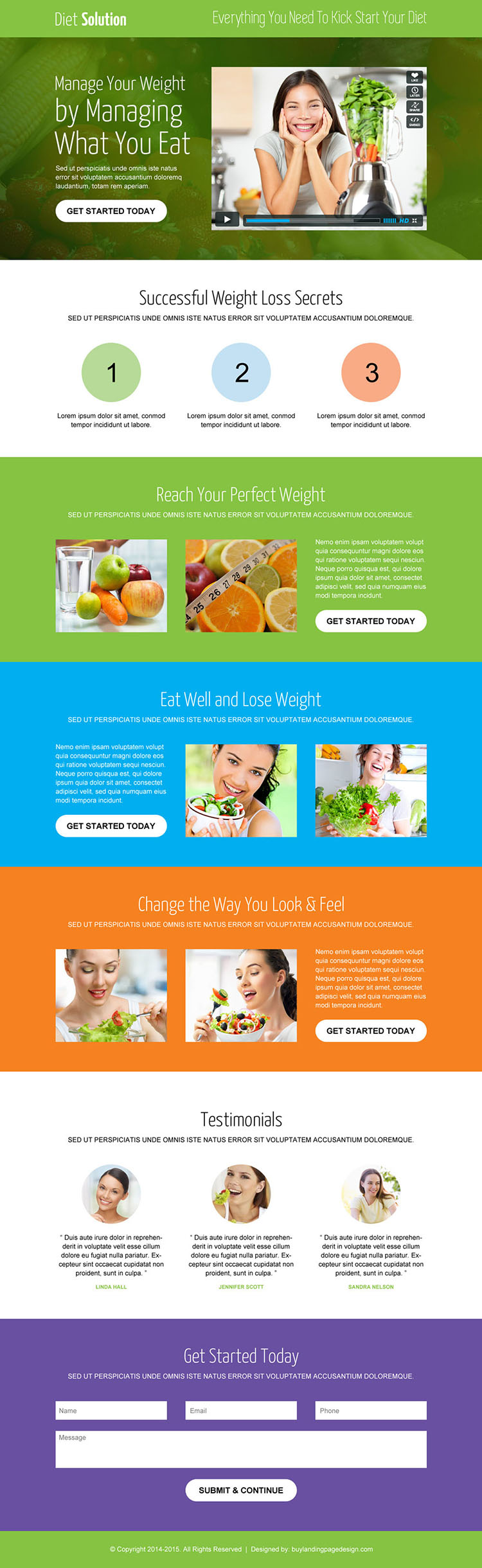 weight loss diet responsive video landing page design template