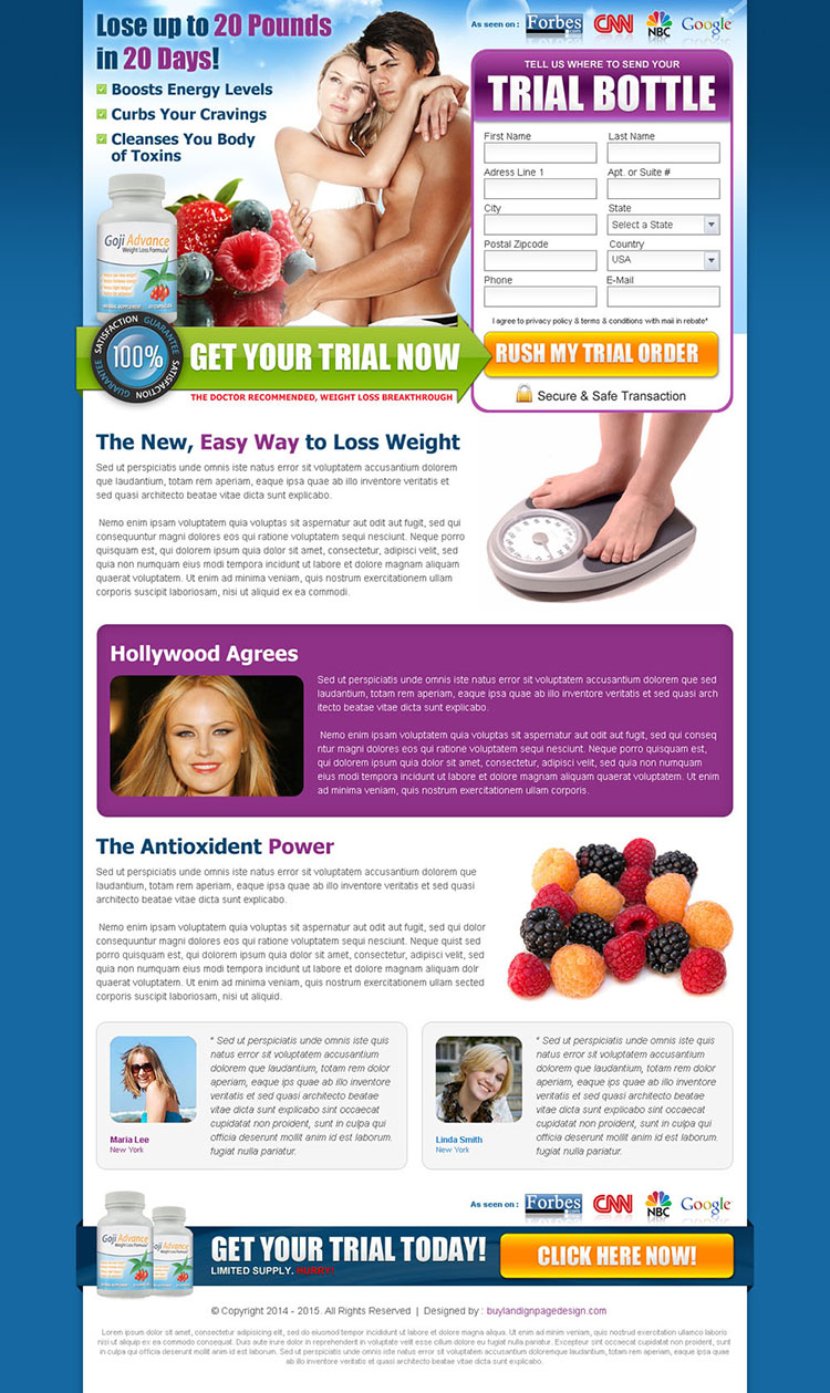 weight loss product landing page design template