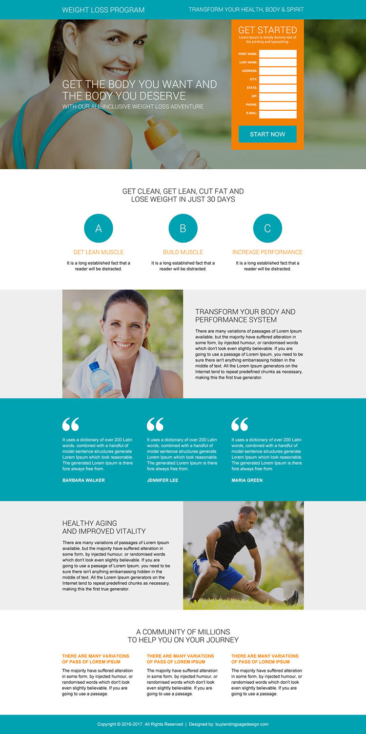 best weight loss program lead capturing landing page design