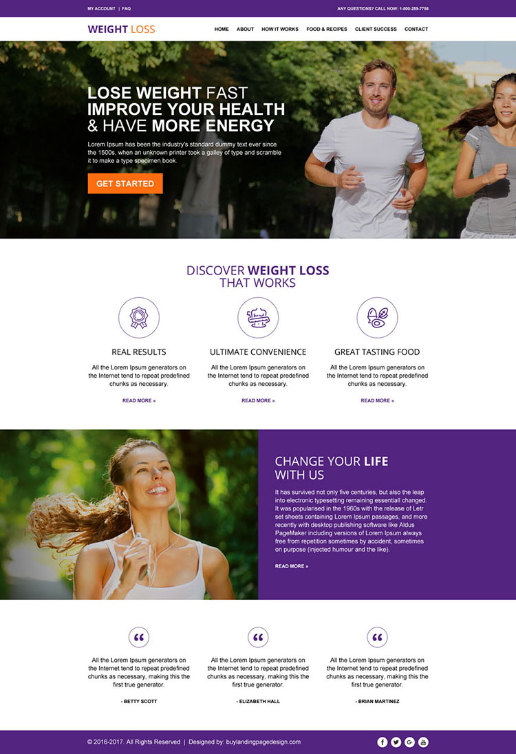 responsive weight loss website design template