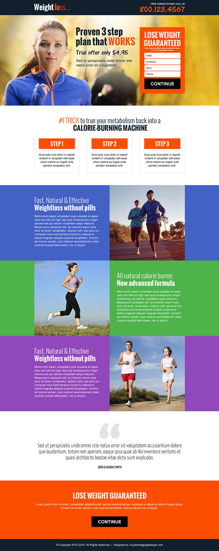 best weight loss workout plan responsive landing page design
