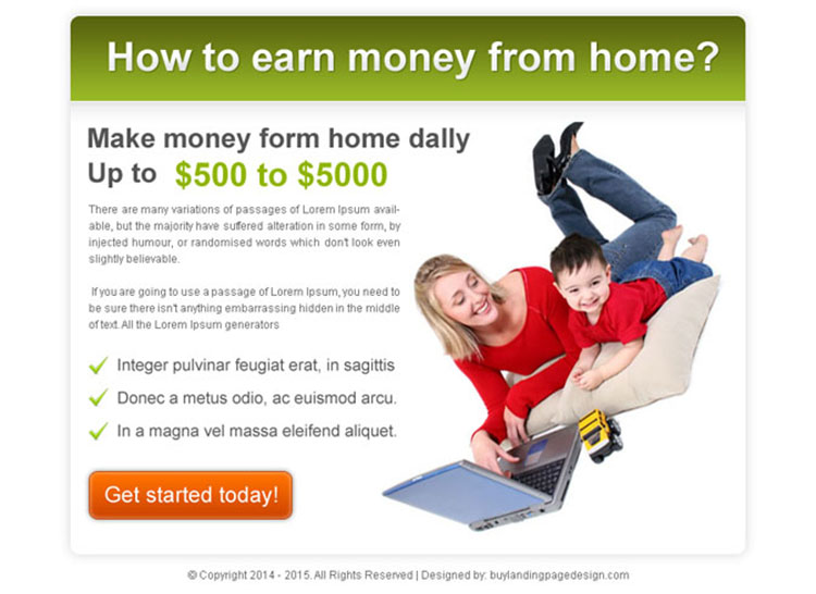 best ppv landing page design template for work from home business