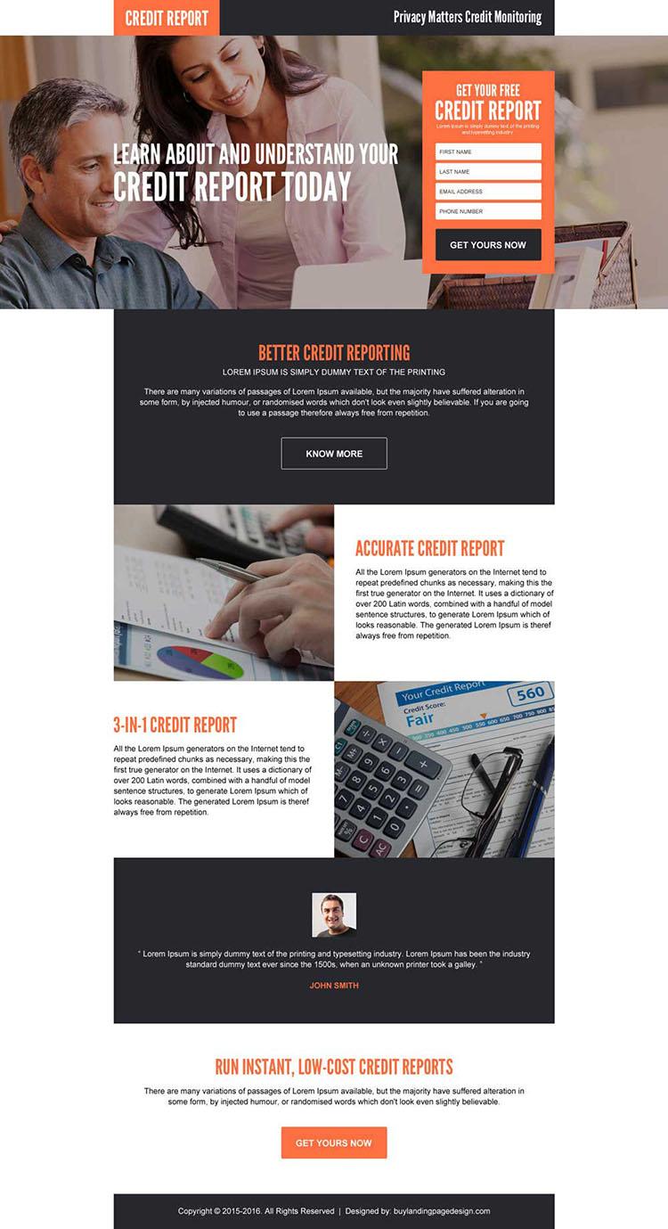 credit monitoring responsive landing page design