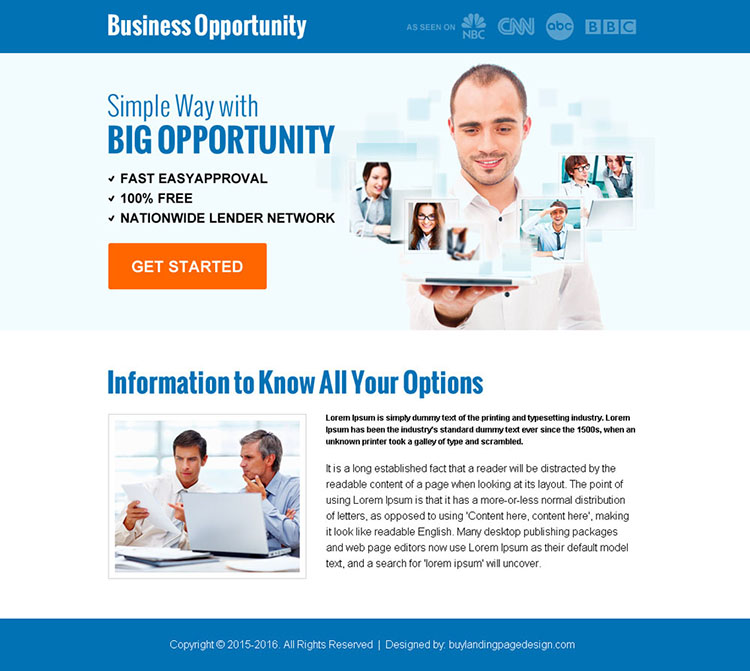 big business opportunity ppv landing page design