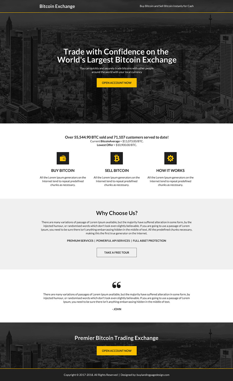bitcoin trading sign up capturing professional landing page design