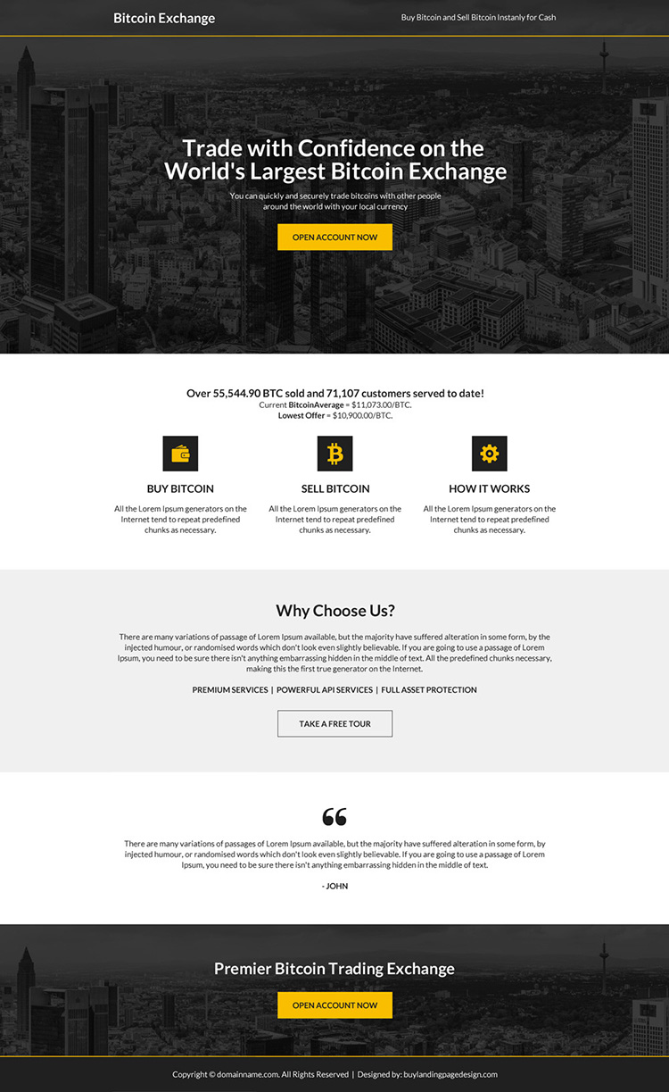 worlds largest bitcoin exchange responsive landing page