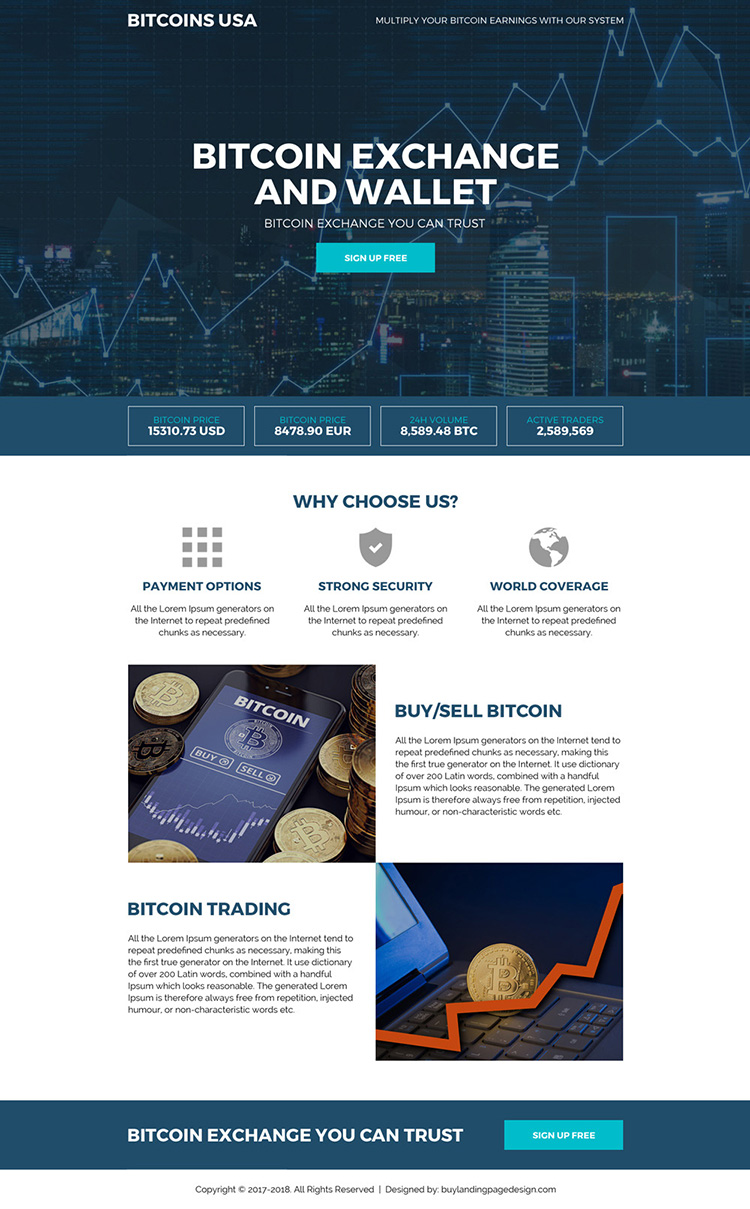 bitcoin exchange and wallet mini landing page design
