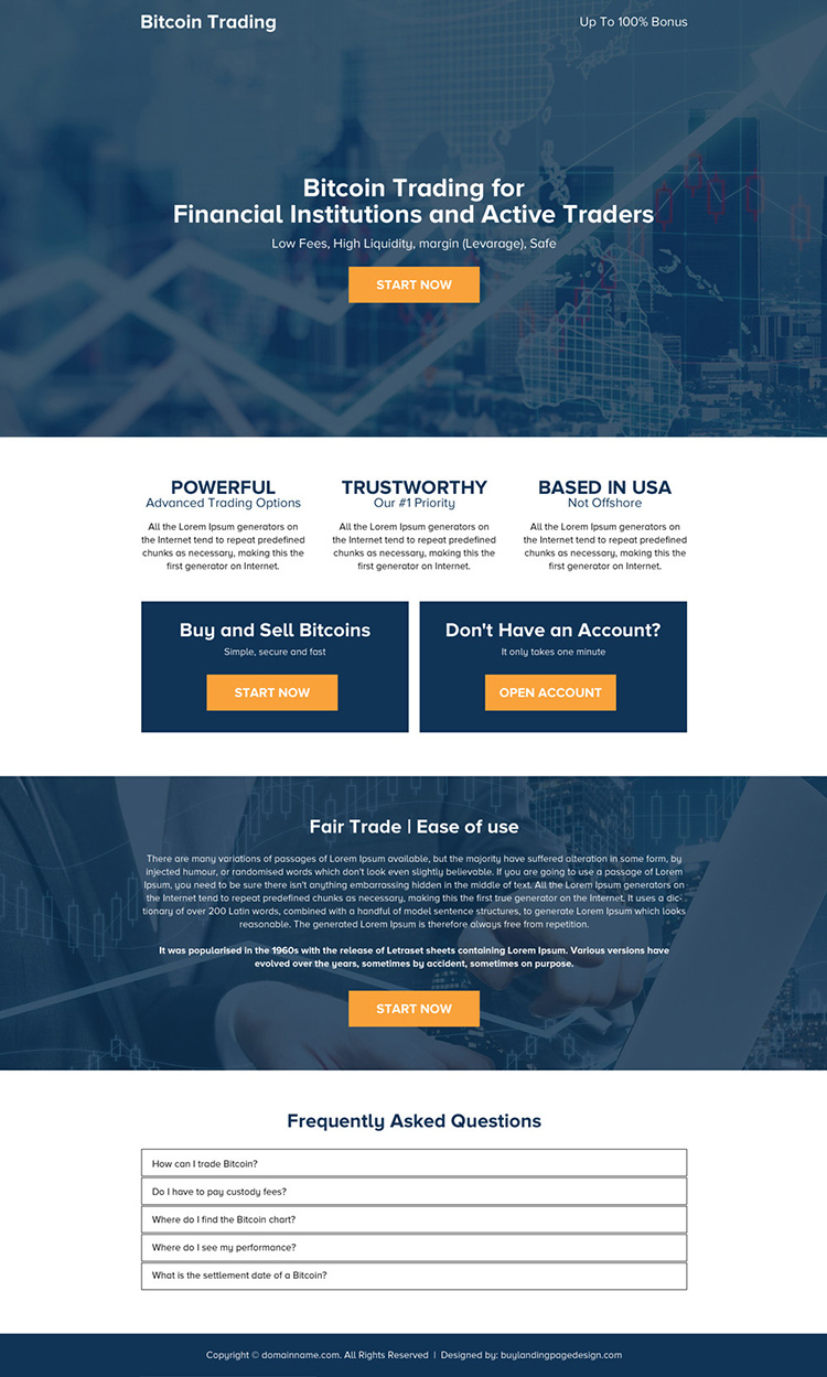 responsive bitcoin trading mini call to action landing page