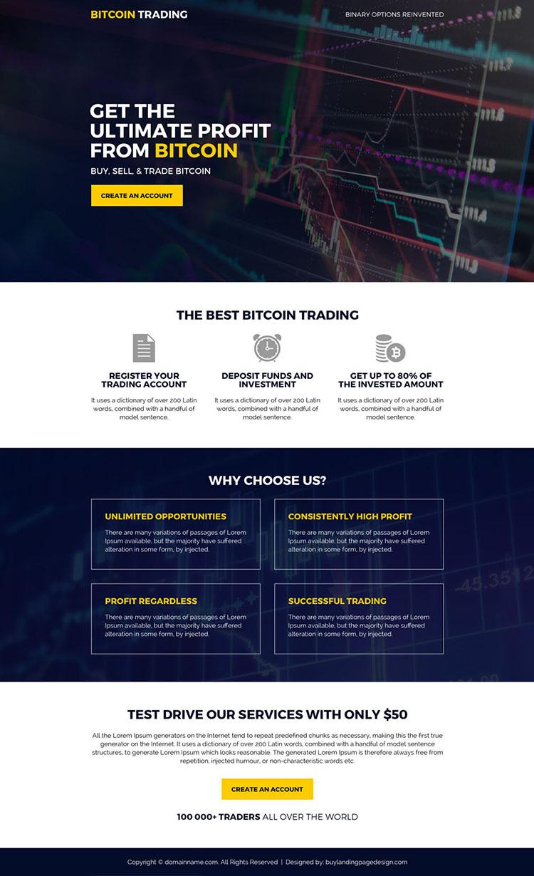 bitcoin trading mini responsive landing page design