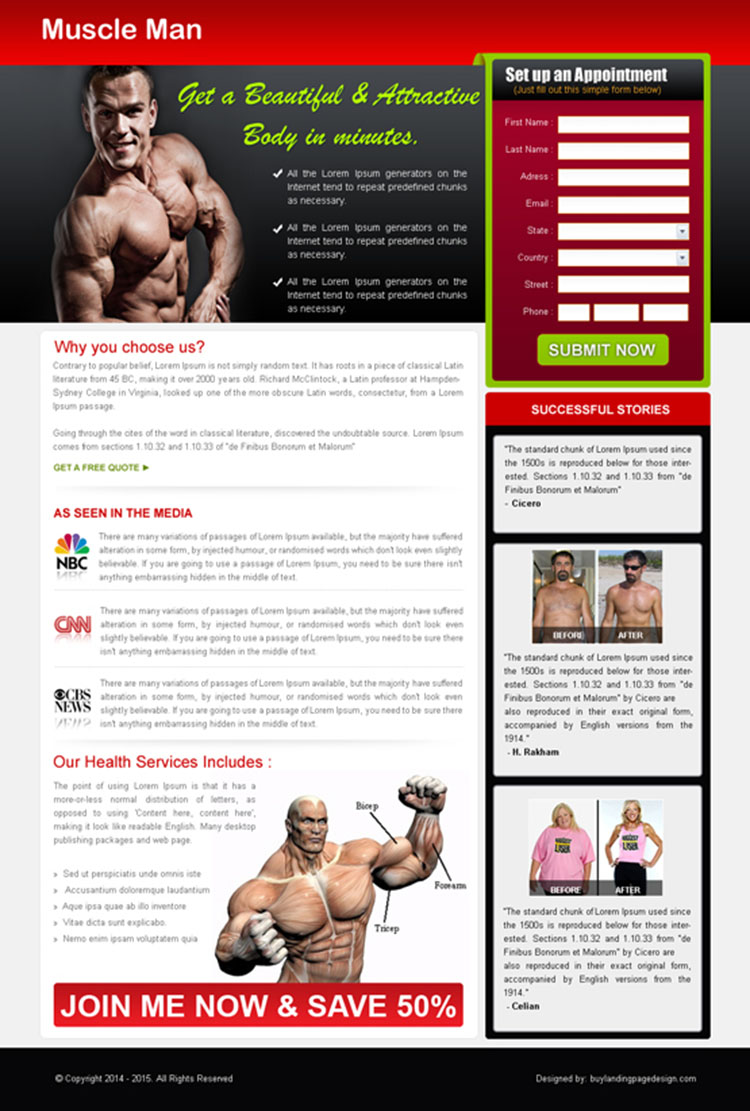 get beautiful and attractive body in minutes landing page design
