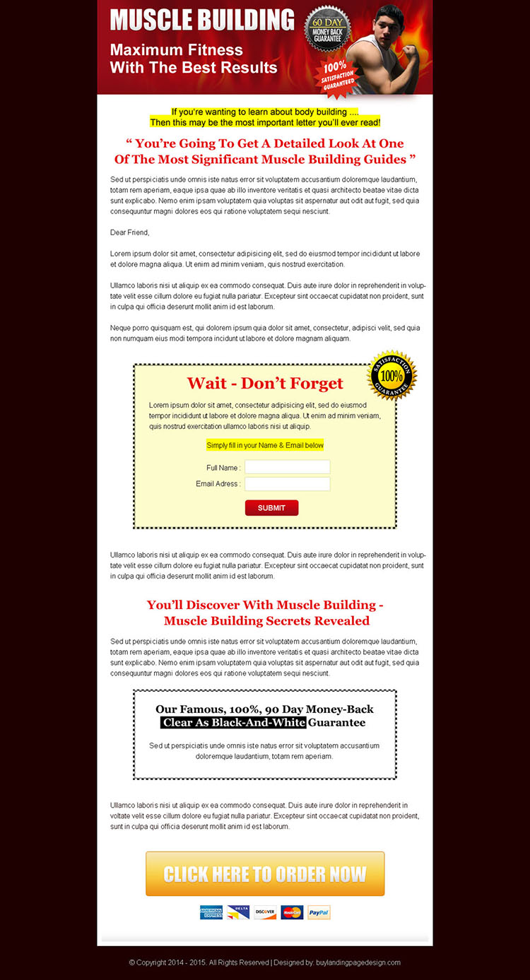 maximum fitness muscle building long lead capture sales page design