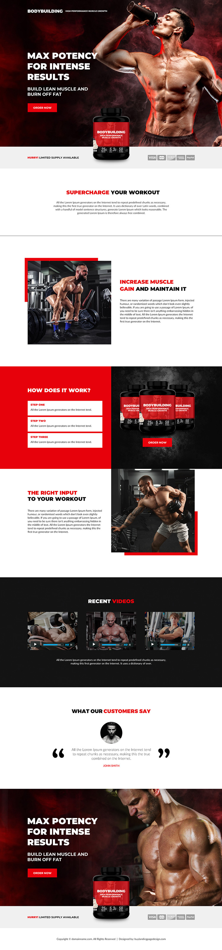 muscle growth supplement selling responsive landing page design