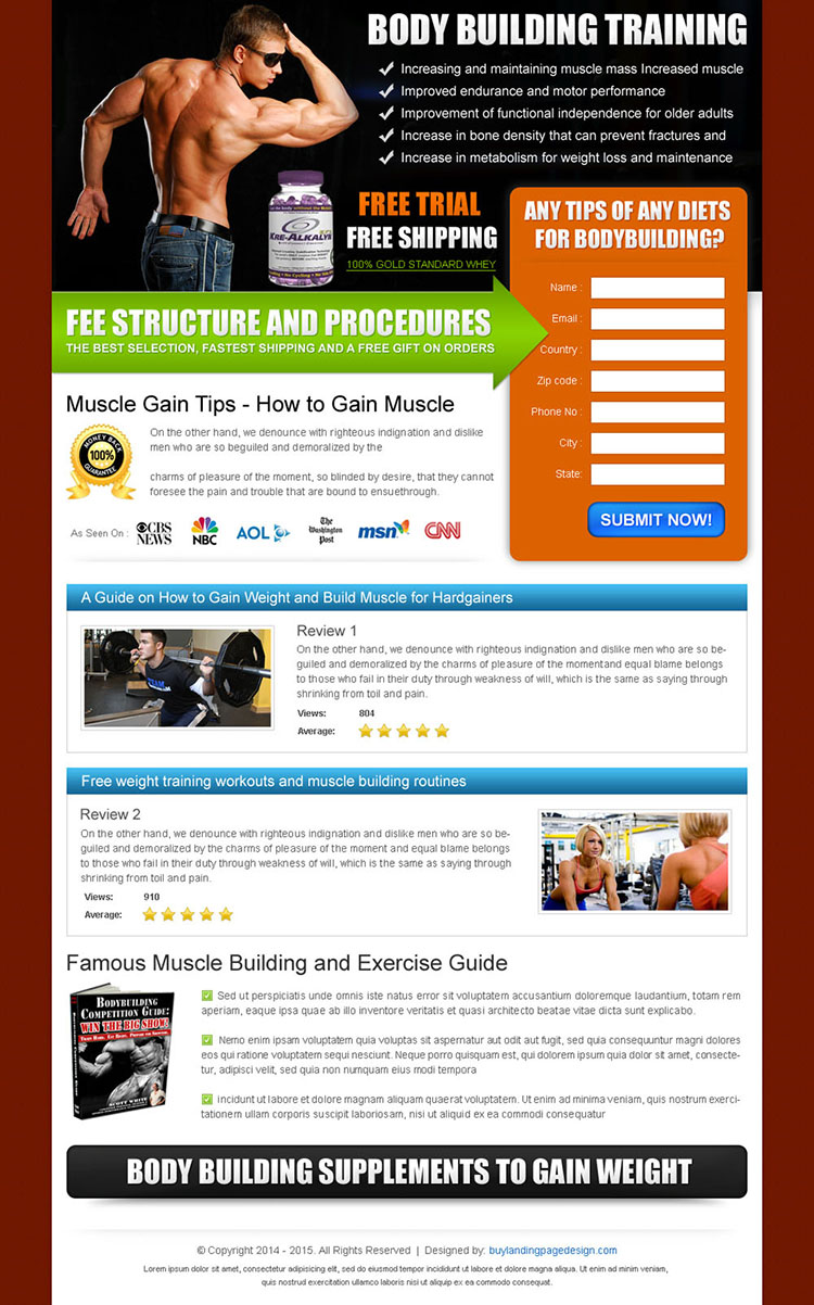 gain muscle with our body building expert training landing page design