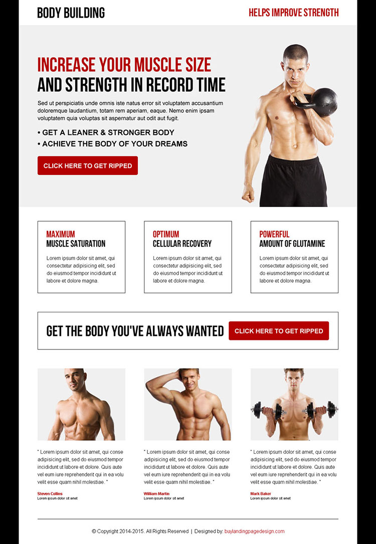 increase your muscle size and strength in record time responsive body building landing page