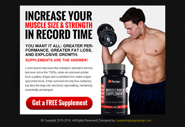 bodybuilding supplement ppv landing page design