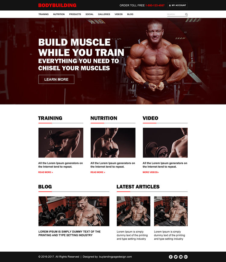 bodybuilding effective and converting html website templates