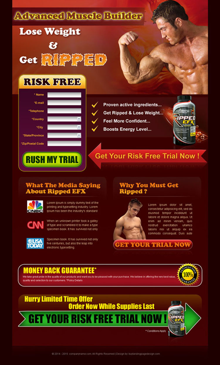 get ripped body building lead capture landing page