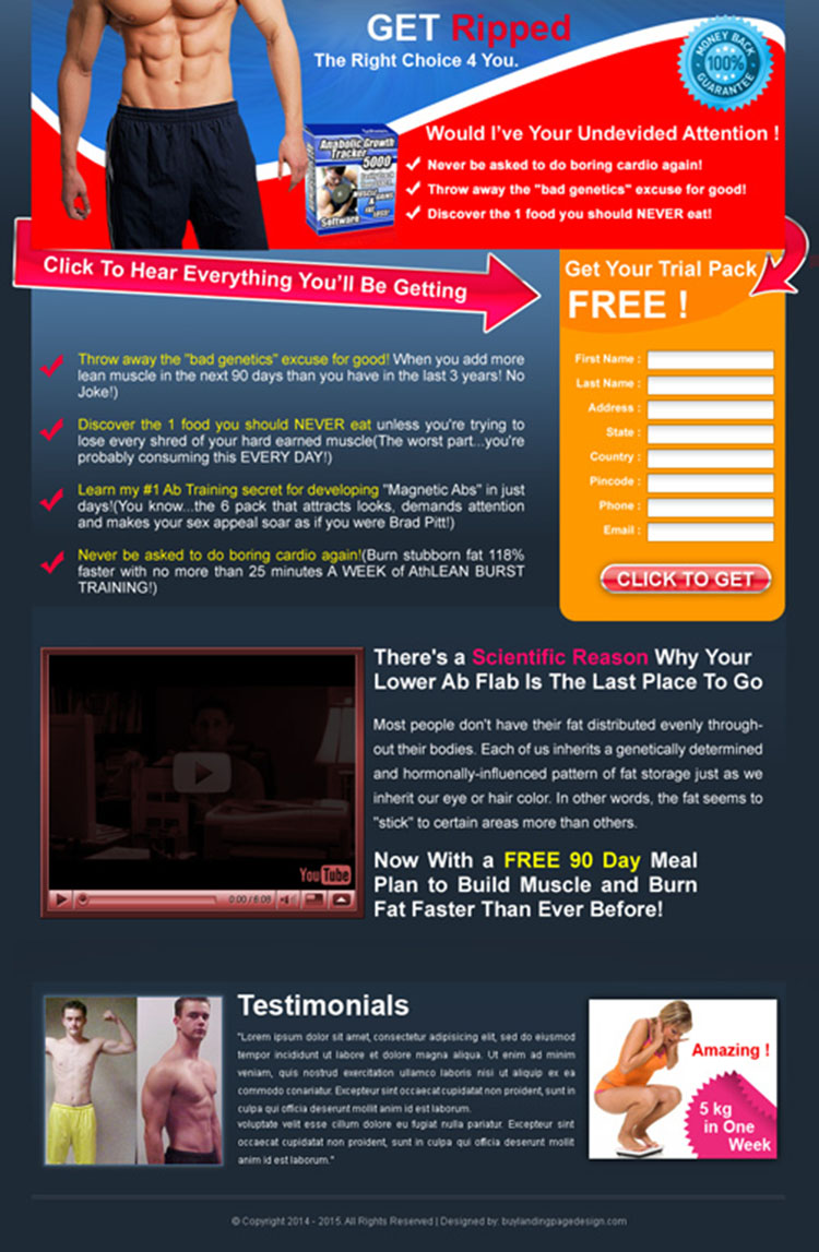 body building product trial pack landing page design for sale