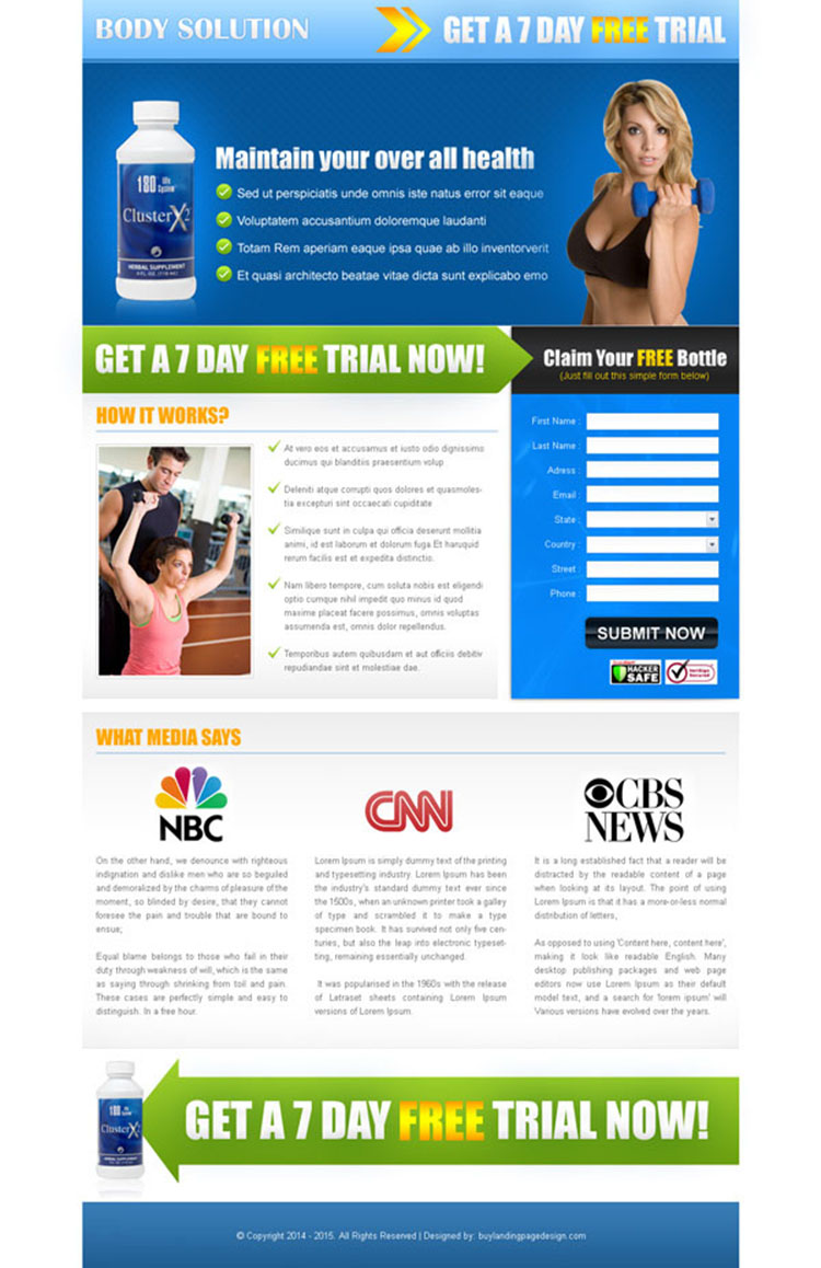 bodybuilding solution lead capture landing page design for sale